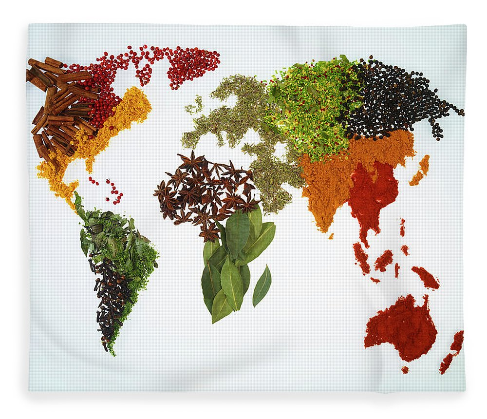Large Group Of Objects Fleece Blanket featuring the photograph World Map With Spices And Herbs by Yamada Taro