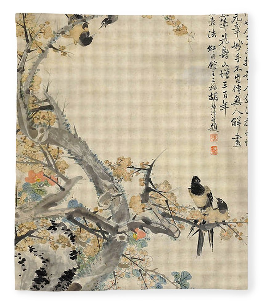 Hu Xi Yi Fleece Blanket featuring the painting Xinsi    Made Plum Blossom And Collected Magpies by Hu Xi Yi