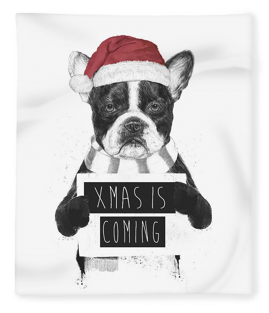 Bulldog Fleece Blanket featuring the mixed media Xmas is coming by Balazs Solti