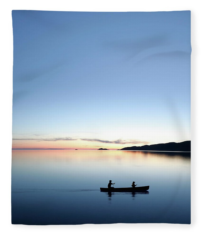 Lake Michigan Fleece Blanket featuring the photograph Xxxl Twilight Canoeing by Sharply done