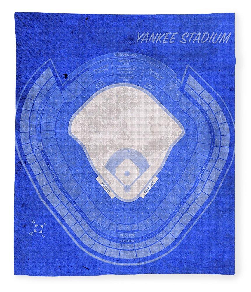 Yankee Stadium Fleece Blanket featuring the mixed media Yankee Stadium New York Seating Chart Vintage Patent Blueprint by Design Turnpike