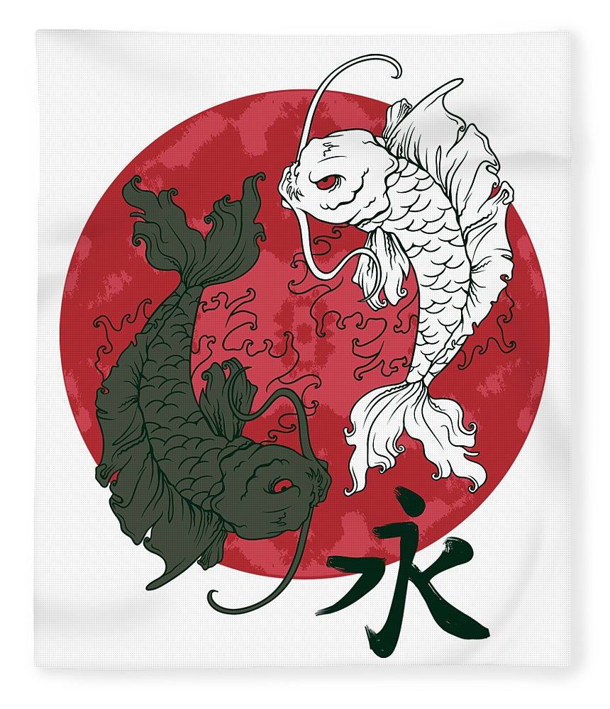 Japanese Fleece Blanket featuring the digital art Yin Yang Koi Fish by Passion Loft