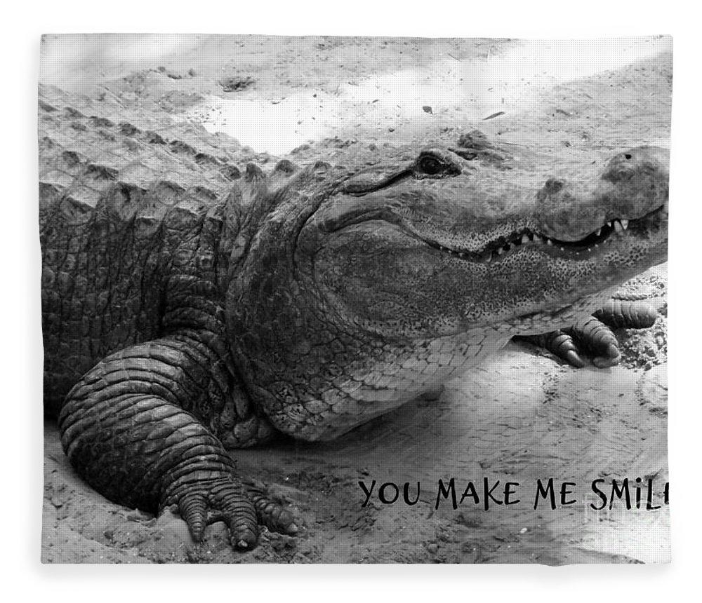 Gator Fleece Blanket featuring the photograph You Make Me Smile by Carol Groenen
