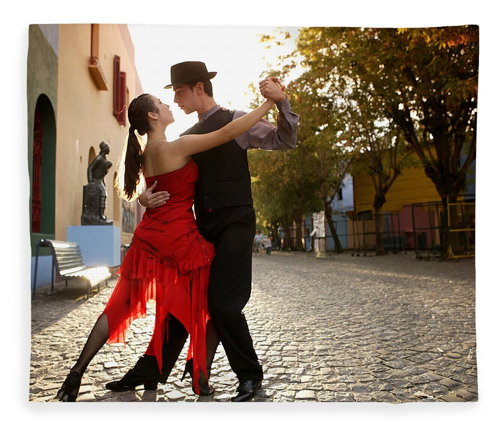 Young Men Fleece Blanket featuring the photograph Young Couple Dancing Tango In Street by Buena Vista Images
