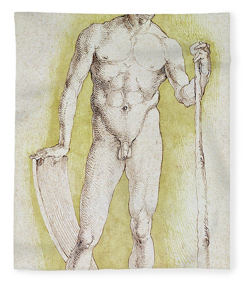 Young Nude Man Fleece Blanket featuring the drawing Young Nude Man by Albrecht Durer