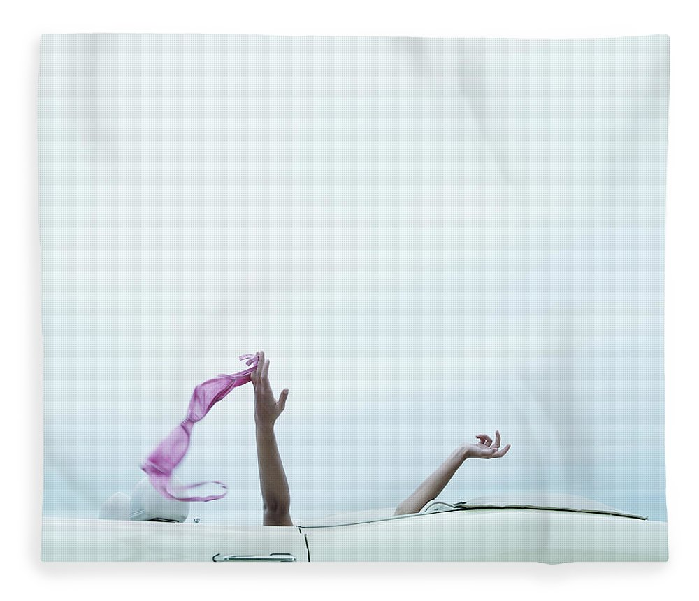 Young Men Fleece Blanket featuring the photograph Young Woman In Convertible Car, Arms by Jerome Tisne