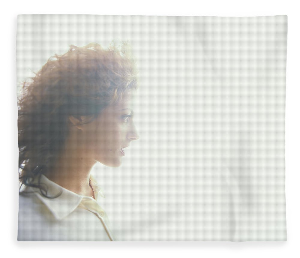 Beautiful Woman Fleece Blanket featuring the photograph Young Woman, Profile Soft Focus by Thomas Barwick