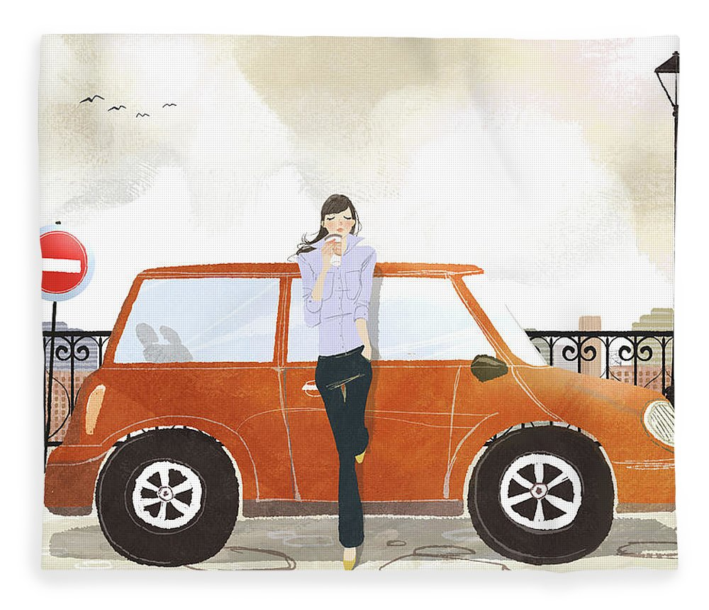 People Fleece Blanket featuring the digital art Young Woman Standing In Front Of Car by Eastnine Inc.