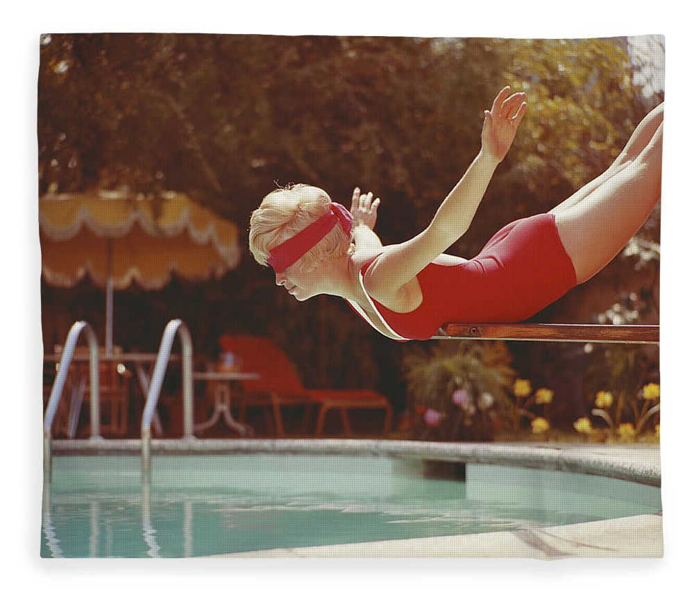 Human Arm Fleece Blanket featuring the photograph Young Woman With Blindfold Balancing On by Tom Kelley Archive