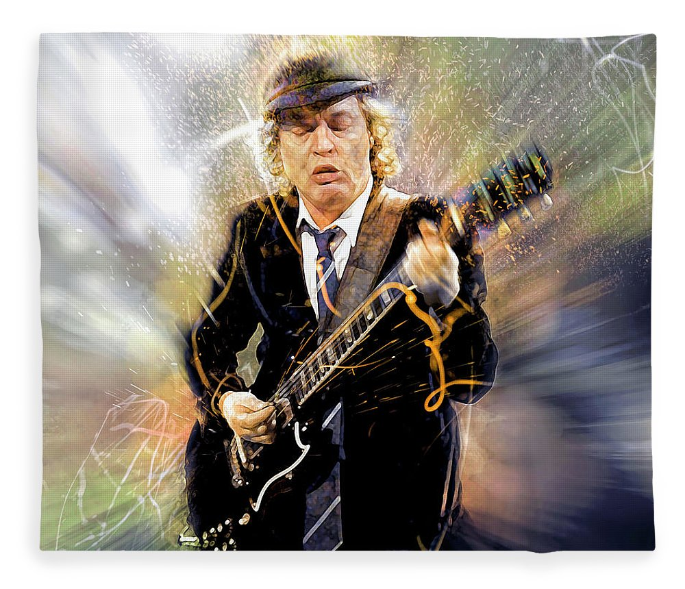 Angus Young Fleece Blanket featuring the digital art You've been thunderstruck by Mal Bray