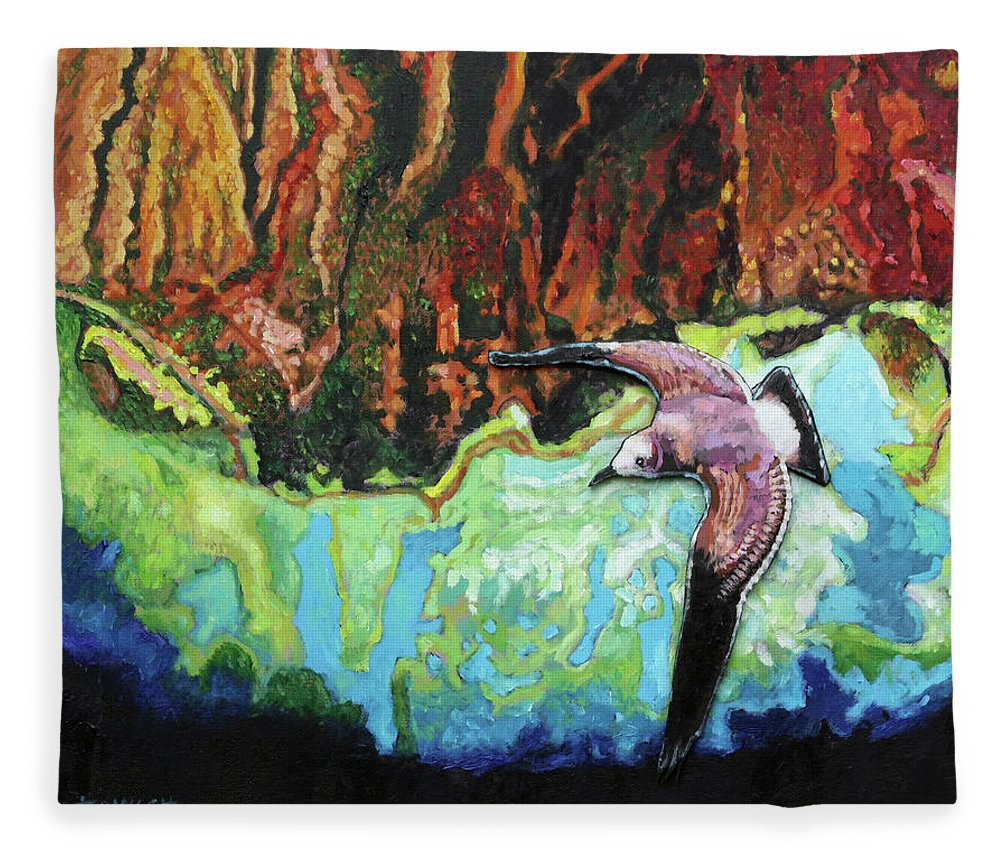 Sea Gull Fleece Blanket featuring the painting Flying High by John Lautermilch