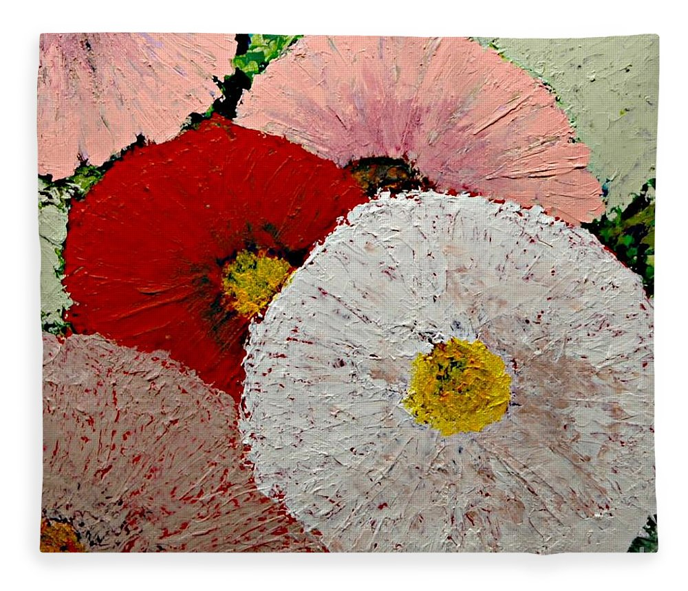 Landscape Fleece Blanket featuring the painting From the Garden by Allan P Friedlander