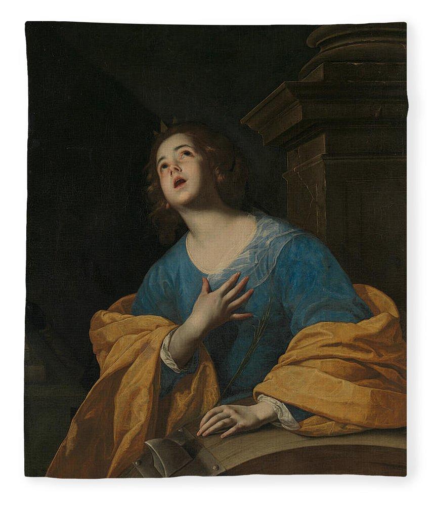 17th Century Painters Fleece Blanket featuring the painting Saint Catherine Of Alexandria by Workshop of Bernardo Cavallino