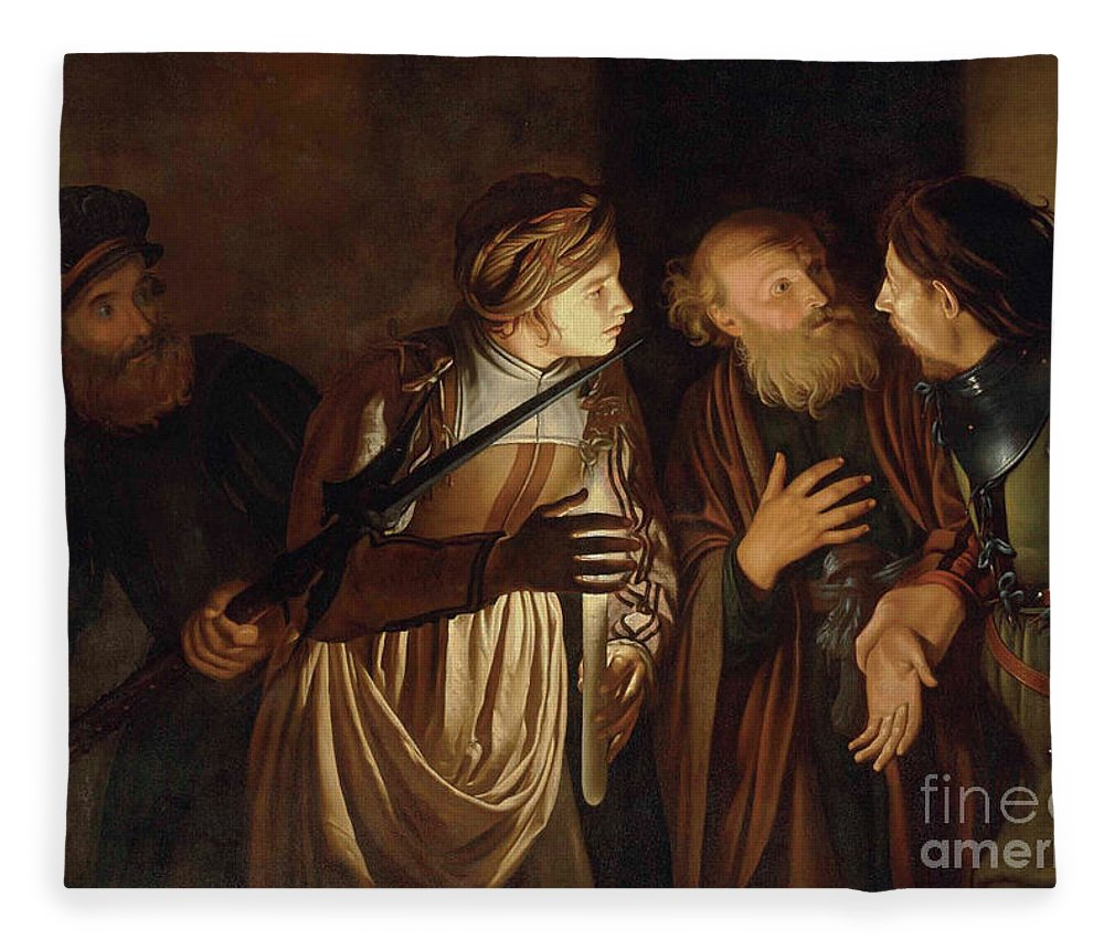 Coster Fleece Blanket featuring the painting The Denial of Saint Peter by Adam de Coster