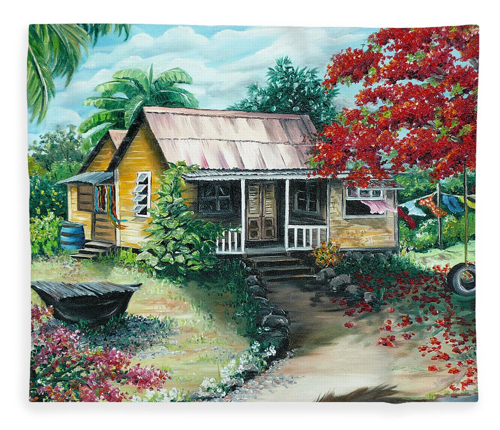 Landscape Painting Caribbean Painting Tropical Painting Island House Painting Poinciana Flamboyant Tree Painting Trinidad And Tobago Painting Fleece Blanket featuring the painting Trinidad Life by Karin Dawn Kelshall- Best