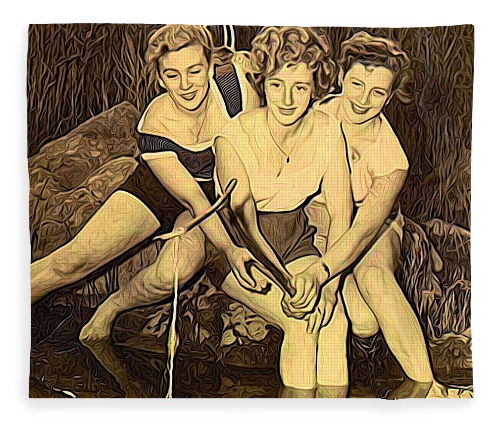Modern Picture Painting Fleece Blanket featuring the mixed media 1950s Threes Sisters Fishing For...1of2 by Joan Stratton