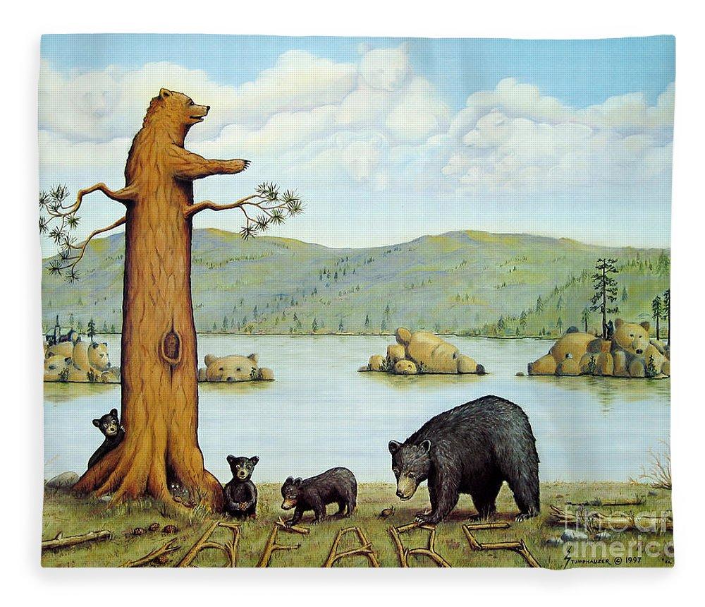 Bears Fleece Blanket featuring the painting 27 Bears by Jerome Stumphauzer