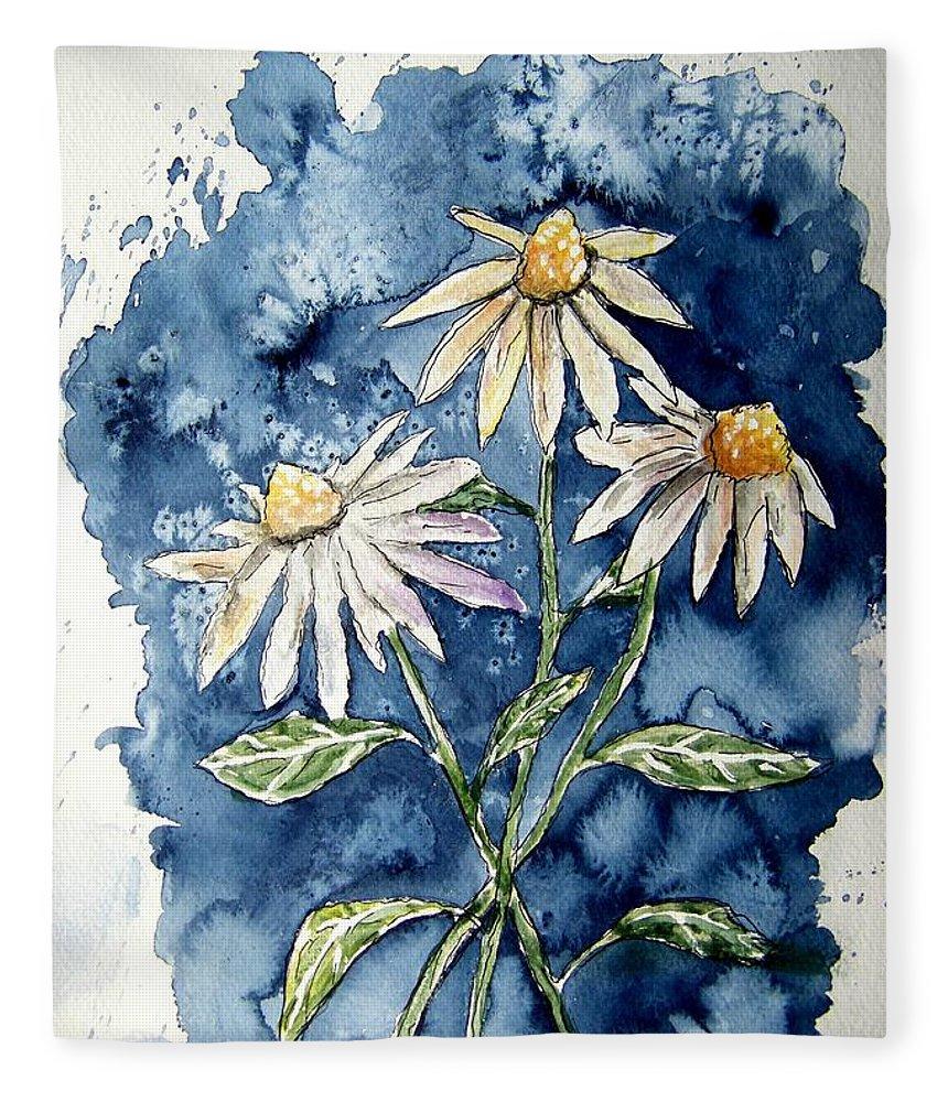 Daisy Fleece Blanket featuring the painting 3 Daisies Flower Art by Derek Mccrea