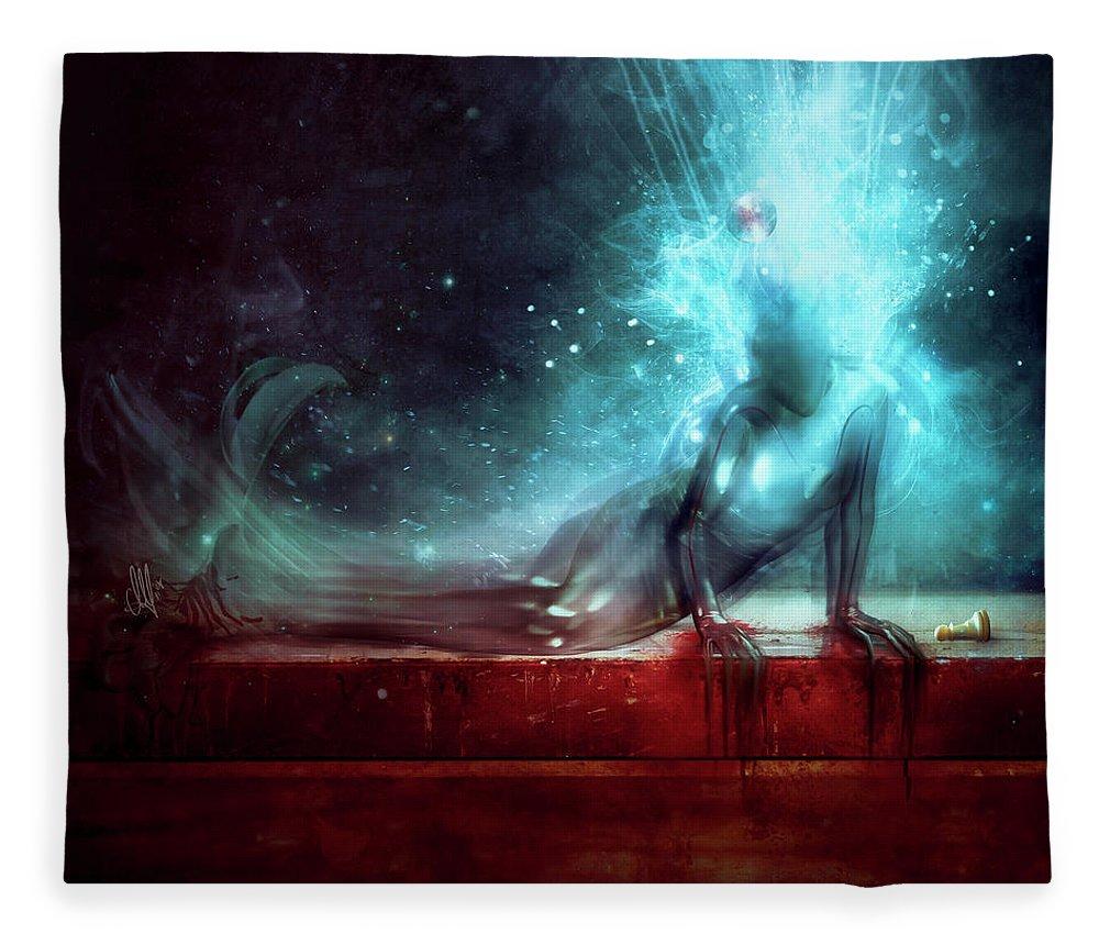 Agony Fleece Blanket featuring the digital art A Dying Wish by Mario Sanchez Nevado
