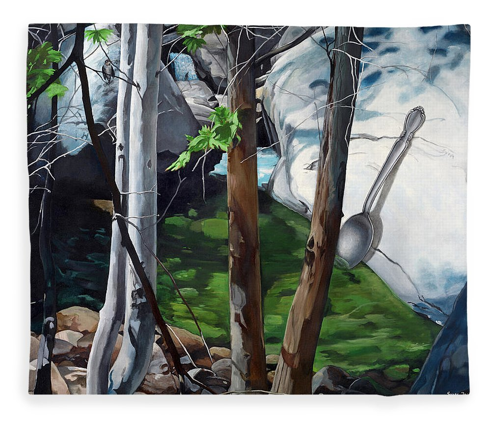 Landscape Fleece Blanket featuring the painting A Taste of Nature by Snake Jagger