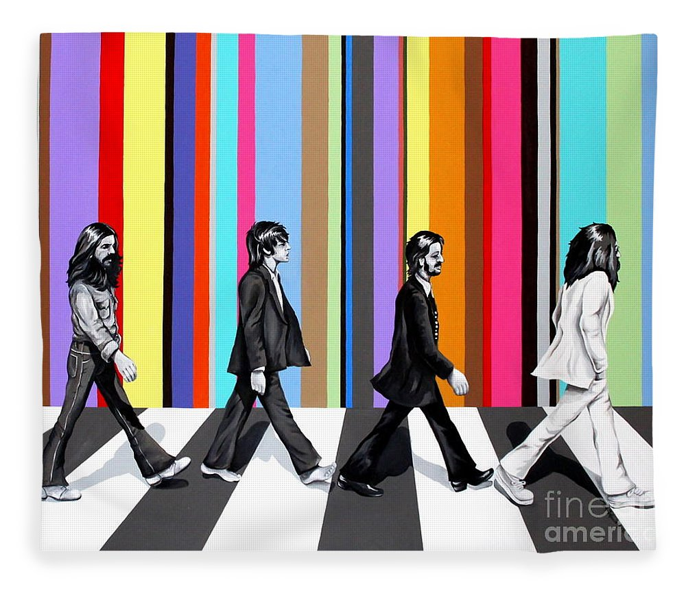 The Beatles Fleece Blanket featuring the painting Abbey Road Technicolor by Amy Belonio