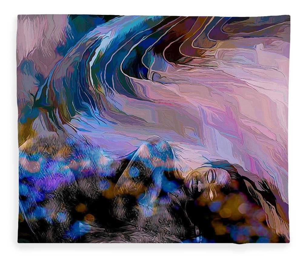 Modern Abstract Art Fleece Blanket featuring the mixed media Abstract Island Girl Slumbering On The Beach by Joan Stratton