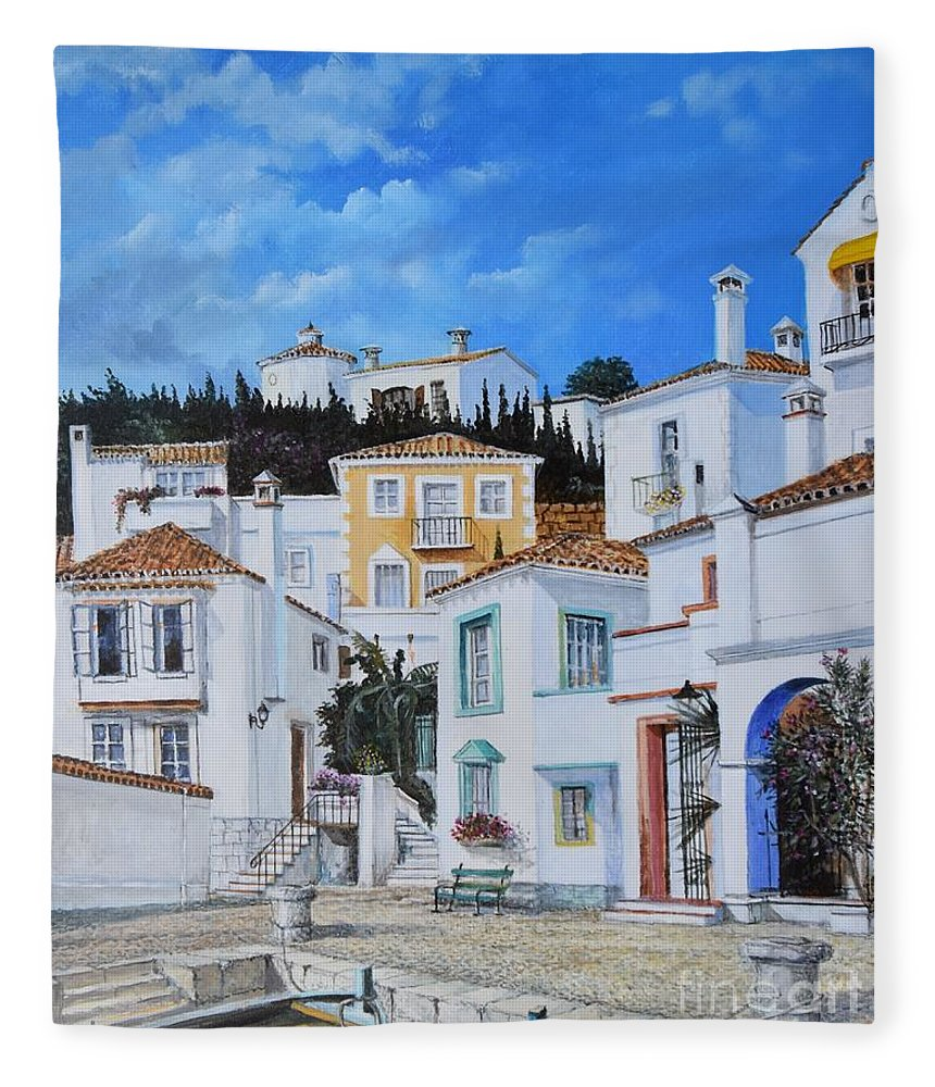 City Fleece Blanket featuring the painting Afternoon Light In Montenegro by Sinisa Saratlic