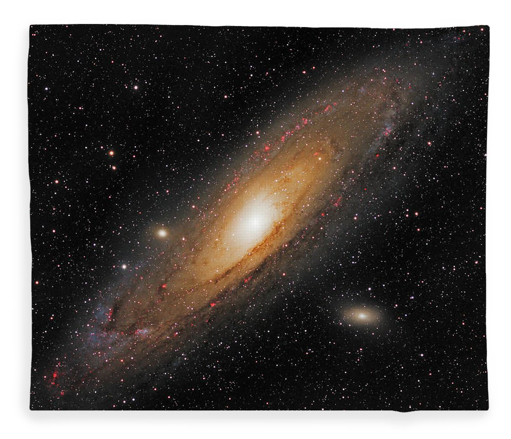 Andromeda Galaxy Fleece Blanket featuring the photograph Andromeda Galaxy by Prabhu Astrophotography