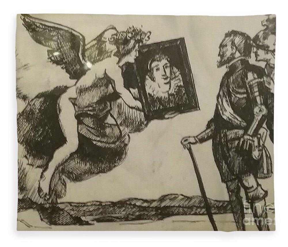 Angel Fleece Blanket featuring the drawing Angel of Aesthetic by Jude Darrien