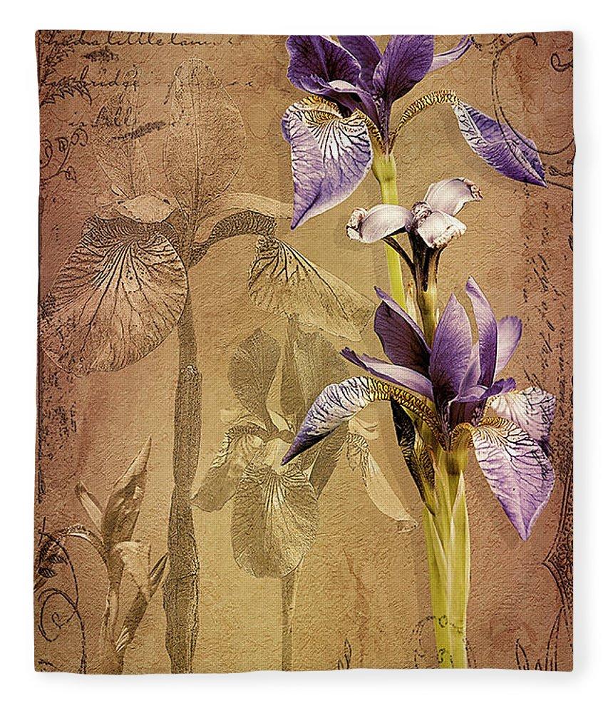 Flowers Fleece Blanket featuring the digital art Antique Iris by Linda Lee Hall