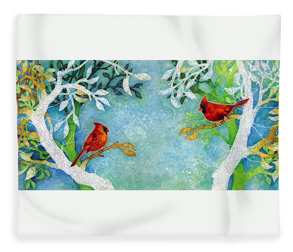 Northern Cardinal Fleece Blanket featuring the painting Sweet Memories Diptych by Hailey E Herrera
