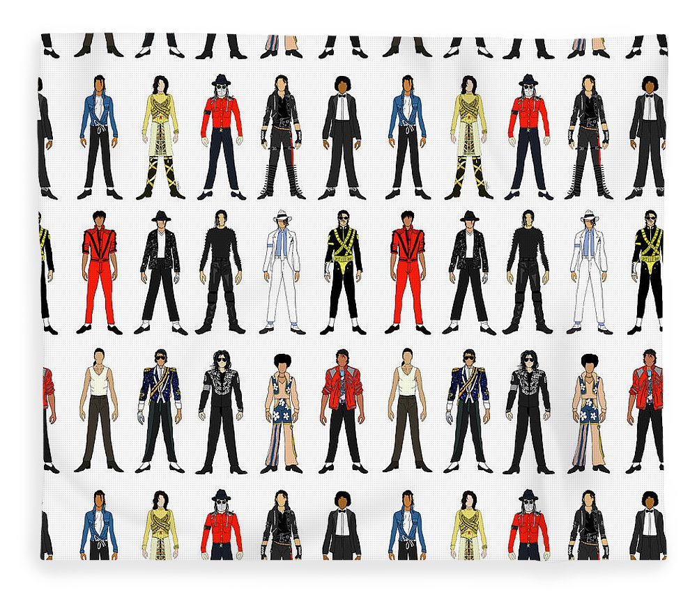 Michael Jackson Fleece Blanket featuring the digital art Outfits of Michael Jackson by Notsniw Art