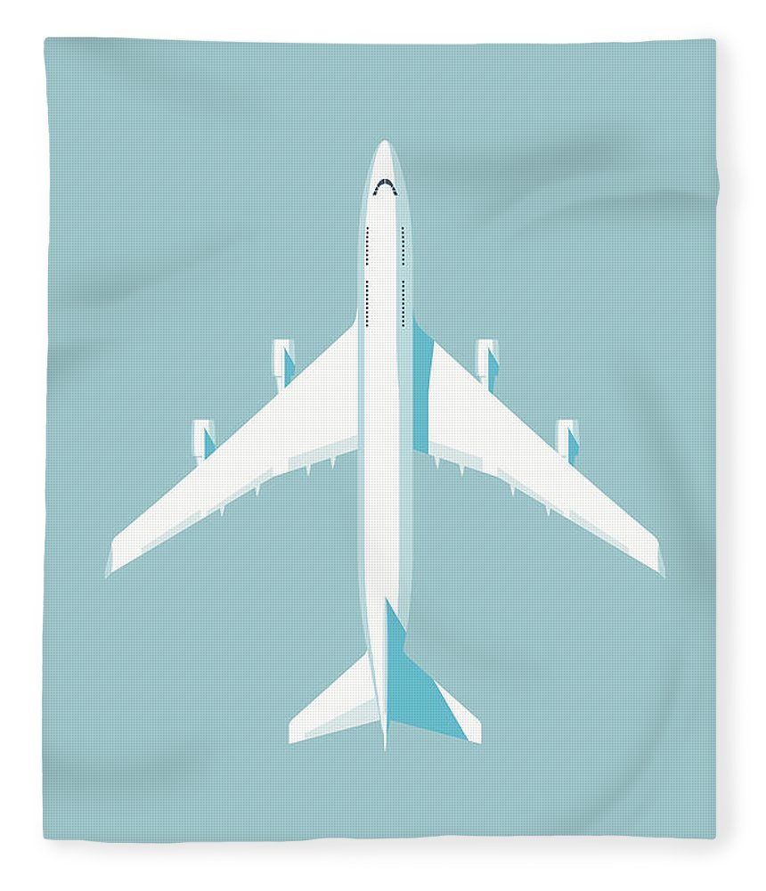 Airplane Fleece Blanket featuring the digital art 747 Jumbo Jet Airliner Aircraft - Sky by Organic Synthesis