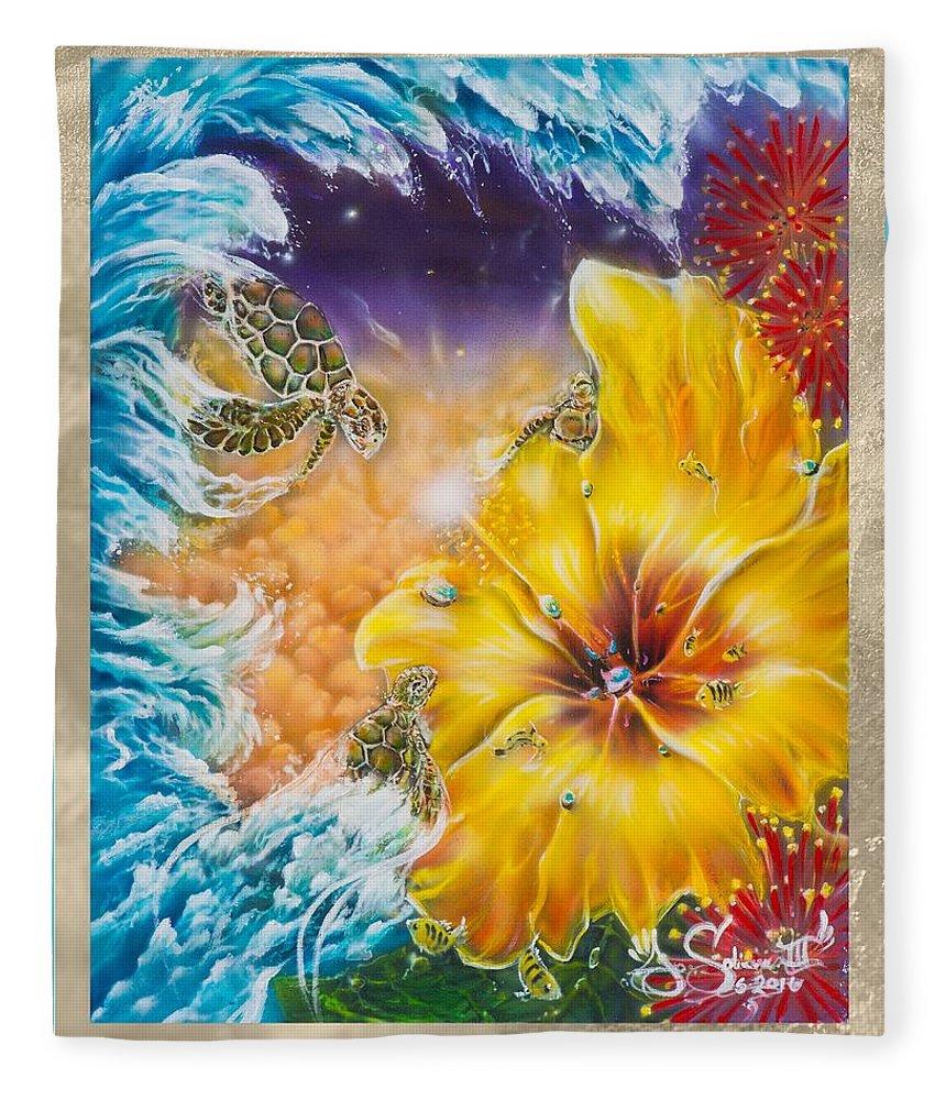 Aloha! Honu Hawaii Art Hibiscus Coral Reefs Flowers Floral Reefs Fleece Blanket featuring the painting Wave of the Honu by Joel Salinas III