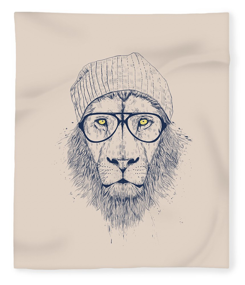 Lion Fleece Blanket featuring the drawing Cool lion by Balazs Solti