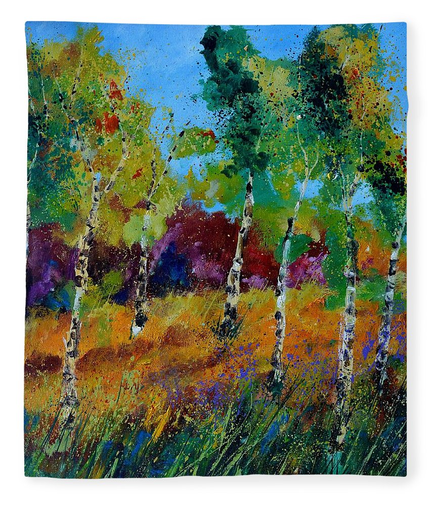 Landscape Fleece Blanket featuring the painting Aspen trees in autumn by Pol Ledent
