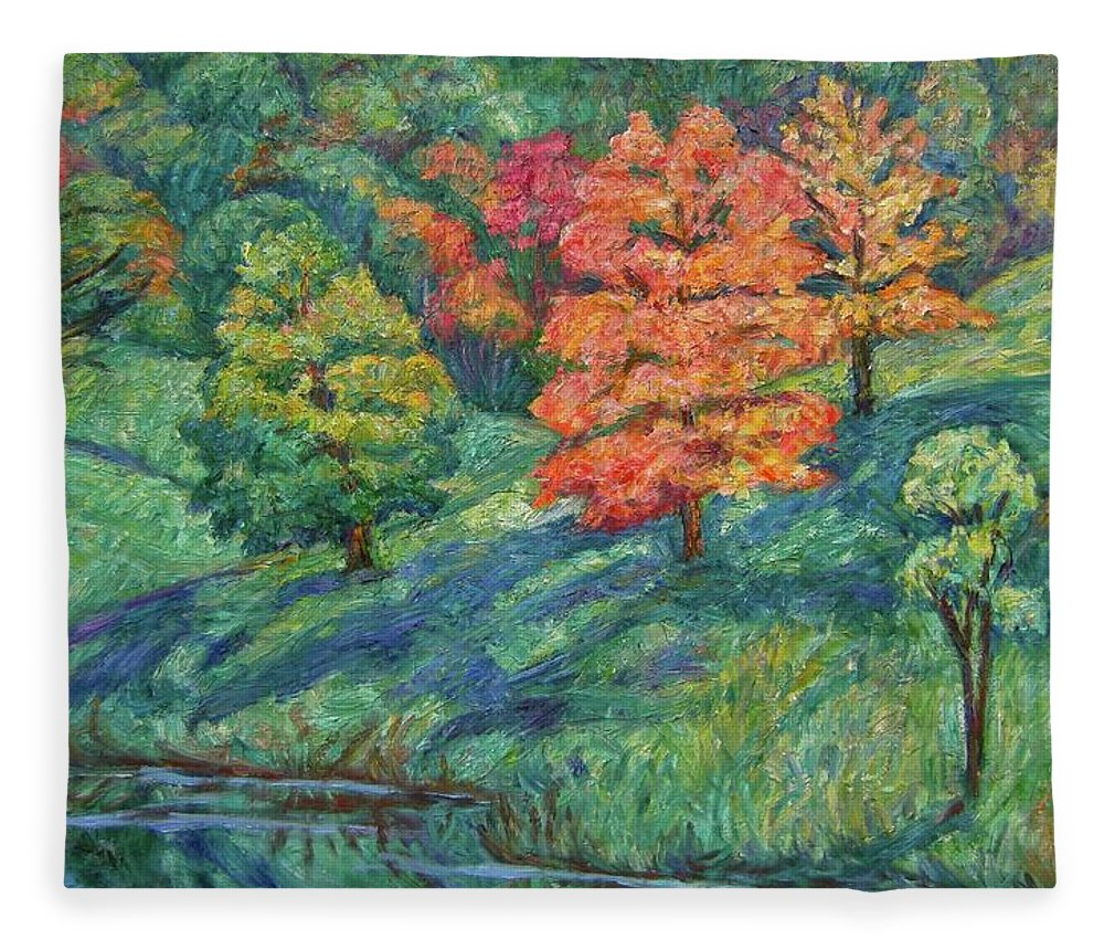 Landscape Fleece Blanket featuring the painting Autumn Pond by Kendall Kessler