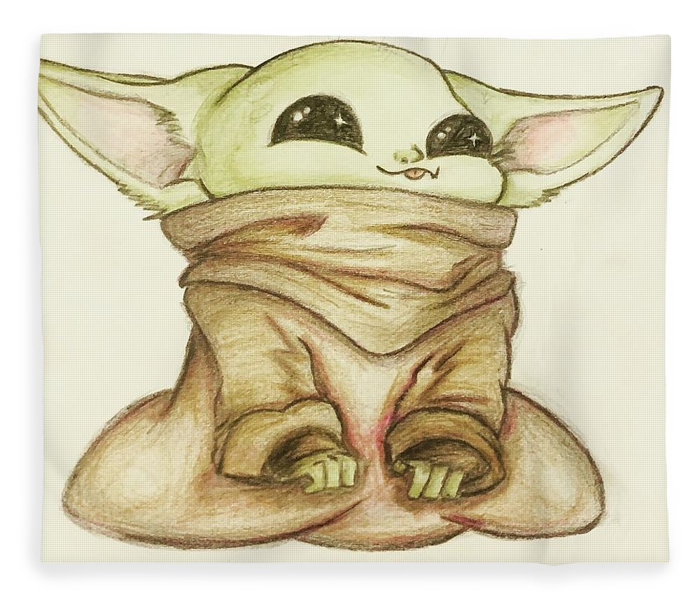 Baby Fleece Blanket featuring the drawing Baby Yoda by Tejay Nichols