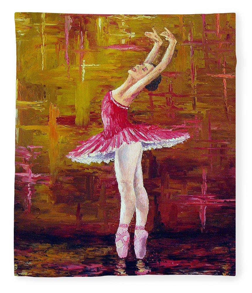 Ballet Fleece Blanket featuring the painting Ballerina by David G Paul