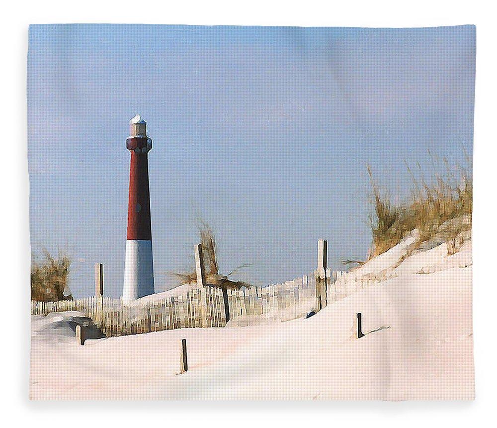 Barnegat Fleece Blanket featuring the photograph Barnegat Lighthouse by Steve Karol