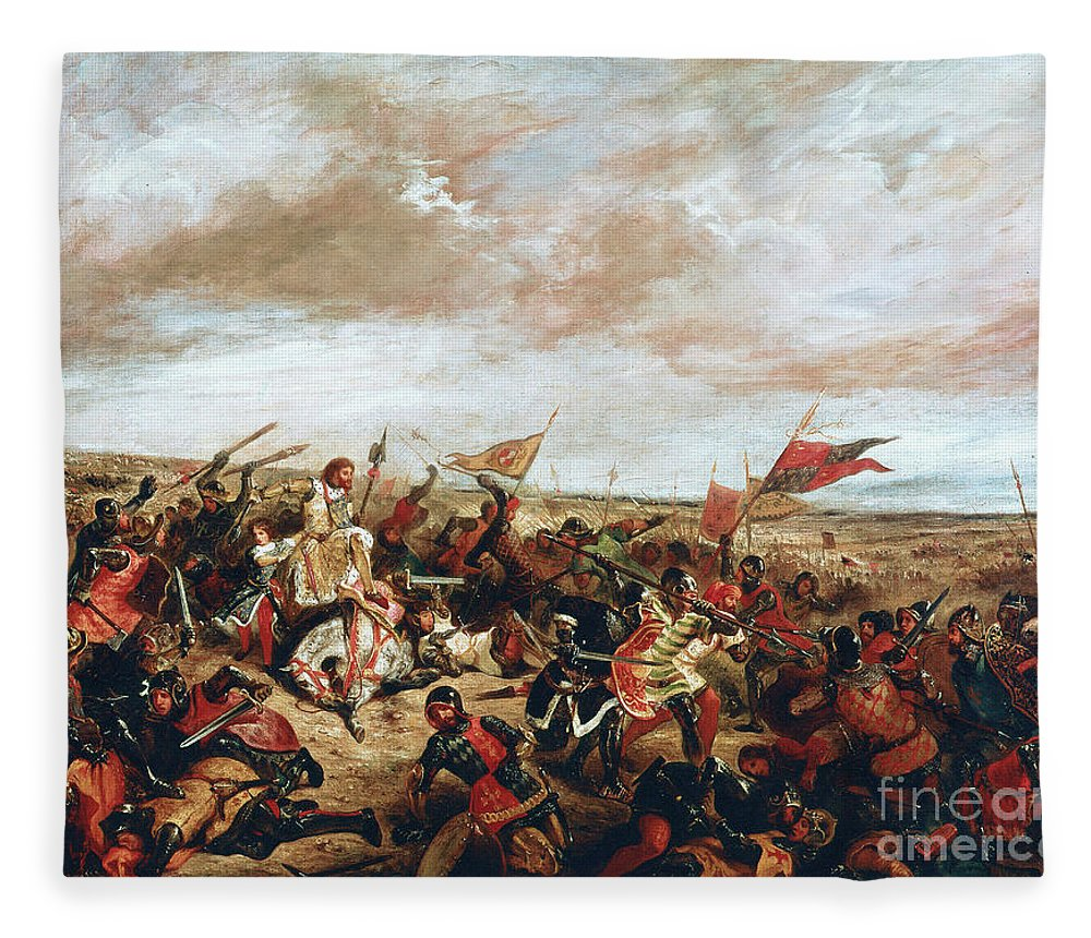 Poitiers Fleece Blanket featuring the painting Battle of Poitiers on September 19, 1356 by Ferdinand Victor Eugene Delacroix