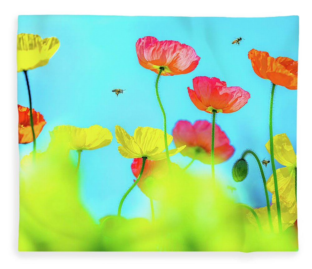 Colorful Poppy Flower Fleece Blanket featuring the photograph Bee Haven by Az Jackson