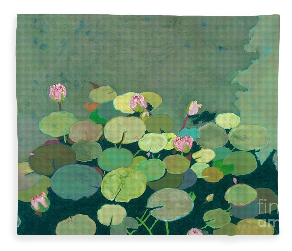Landscape Fleece Blanket featuring the painting Bettys Serenity Pond by Allan P Friedlander