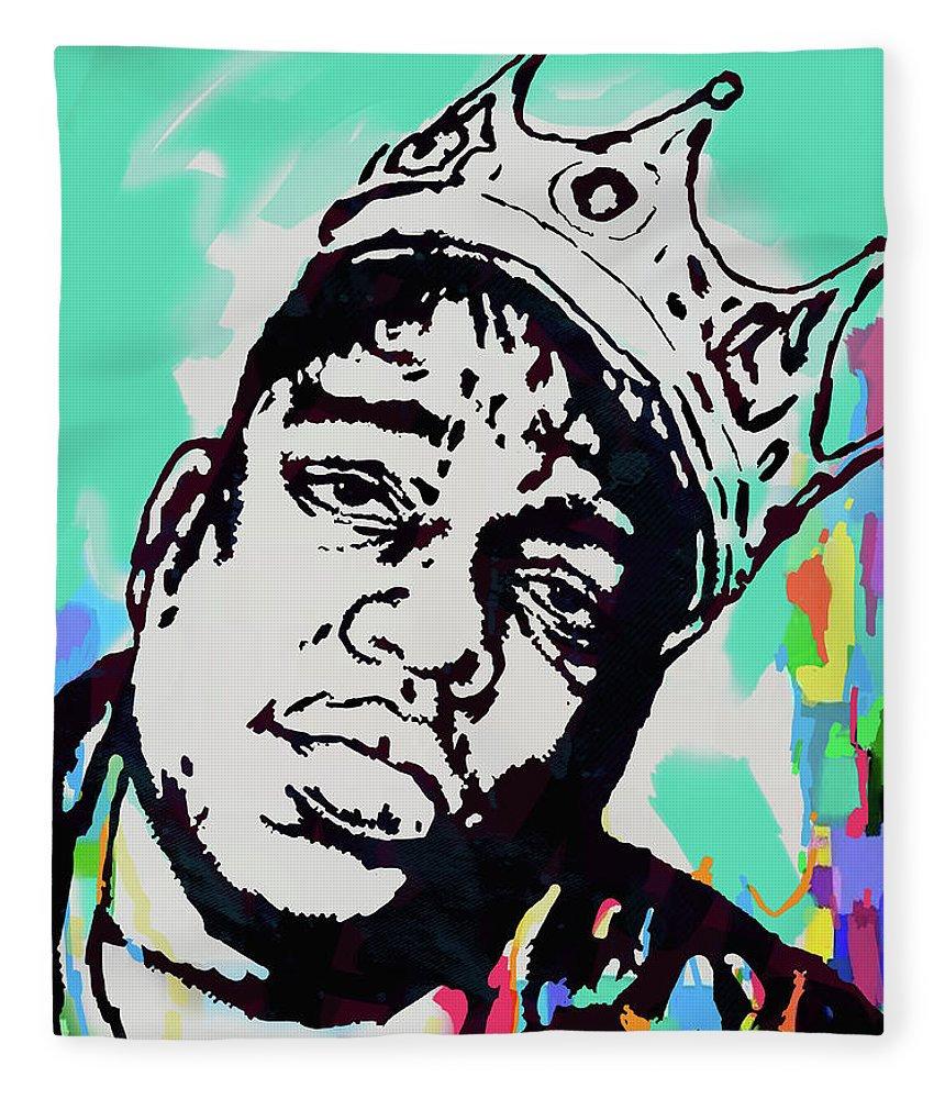 Biggie Smalls Colour Drawing Art Poster - Pop Art Fleece Blanket featuring the mixed media Biggie Smalls - pop art poster 1 by Kim Wang