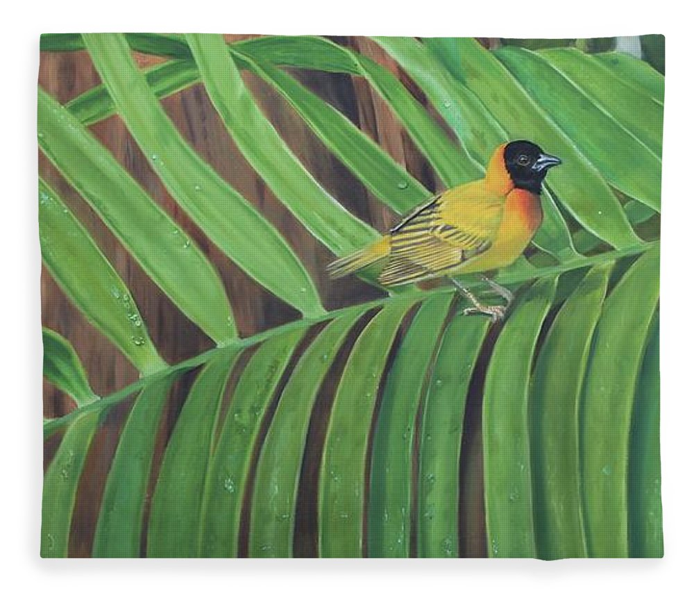 Birds Fleece Blanket featuring the painting Black Headed Weaver by Tammy Taylor