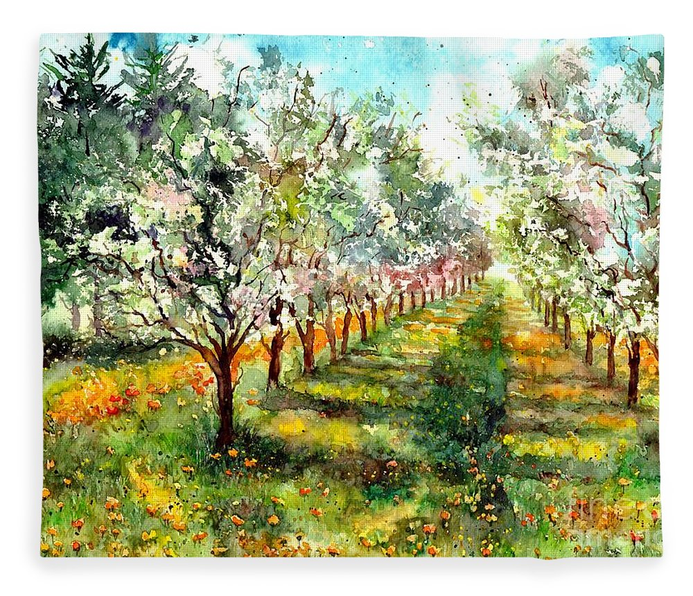 Trees Fleece Blanket featuring the painting Blooming Trees by Suzann Sines