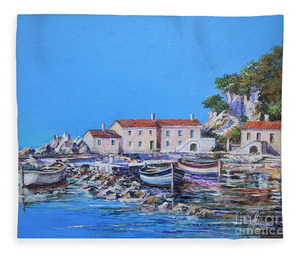 Original Painting Fleece Blanket featuring the painting Blue Bay by Sinisa Saratlic