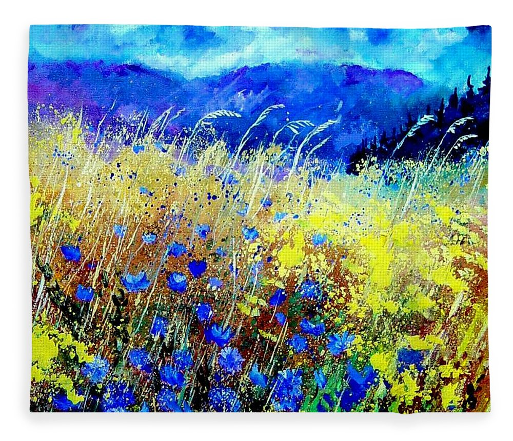 Poppies Fleece Blanket featuring the painting Blue cornflowers 67 by Pol Ledent