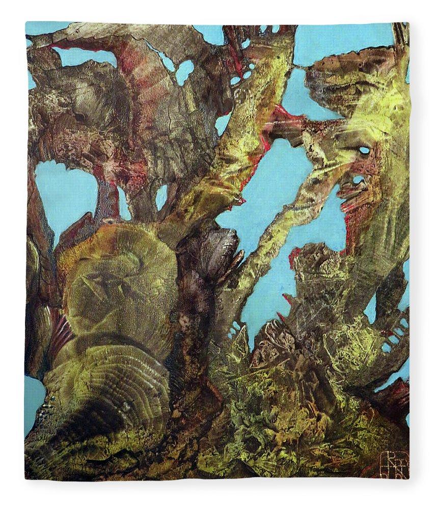 Fantasy Fleece Blanket featuring the painting Bogomil Alien Landscape by Otto Rapp