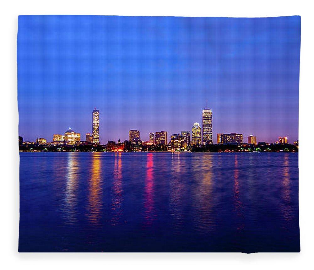 Skyline Fleece Blanket featuring the photograph Boston Skyline Night by Trevor Slauenwhite